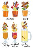 Set of hot alcoholic cocktails on white background.. Vector illustration. Royalty Free Stock Images