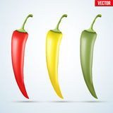 Set of hot chili peppers Stock Photos