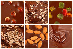 Set of  hot chocolate with nuts Stock Images