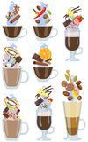 Set of hot coffee drinks with spicy additives. Vector illustration. Royalty Free Stock Image