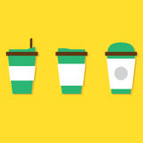 Set Of Hot Coffee Paper Cup vector illustration