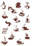 Set of hot coffee sketches Royalty Free Stock Photos