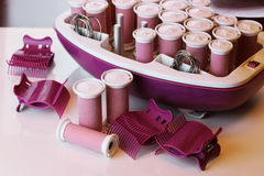 Set of hot curlers Royalty Free Stock Images