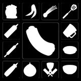 Set of Hot dog, Bowl, Butcher, Fig, Mustard, Pie, Rolling pin, M. Set Of 13 simple editable icons such as Hot dog, Bowl, Butcher, Fig, Mustard, Pie, Rolling pin Royalty Free Illustration