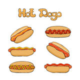 Set of Hot dogs Royalty Free Stock Photo