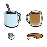 Set of hot drinks icons. Icon set with cups of coffee and tea, sugar cubes and cookie Royalty Free Stock Photos