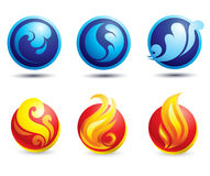 Set of hot natural web icons. Set of hot fire and water web icons