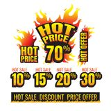 The set of hot price burning labels discount 10%. 15%. 20%. 30%. 70% and tags for hot sale. banner. marketing. Business. percent. on white background. vector Royalty Free Stock Image