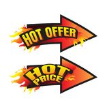 The set of hot price. hot offer burning labels discount 10%. 15%. 20%. 30%. 70% and tags for hot sale. banner. marketing. Business. percent. on white Stock Photos