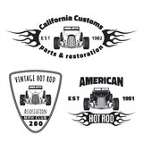 Set of hot rod emblems Stock Photos