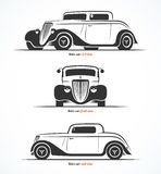 Set of hot rod or vintage custom sports car silhouettes. Vector illustration Royalty Free Stock Images