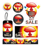 Set of hot sales vectors. Vector set of sale labels, tags, banners and buttons - every object is grouped and editable Royalty Free Stock Photos