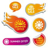 Set of hot summer sale stickers. Illustratration Stock Photo