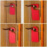 Red paper hanger. Set of Hotel door handle with red paper hanger Stock Image
