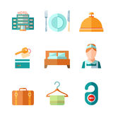 Set of hotel icons. Set of hotel bell key bed luggage chambermaid icons in flat color style vector illustration Royalty Free Stock Photo
