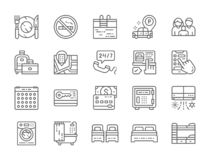 Set of Hotel Service Line Icons. Cutlery, Travel Bags, Booking Room and more. vector illustration
