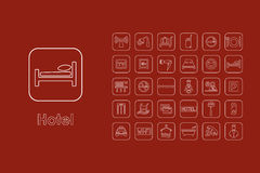 Set of hotel simple icons Royalty Free Stock Images