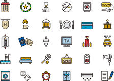 Set of hotel and vacation icons Stock Images