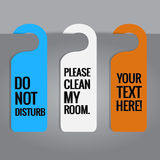 Set of hotels door hanger tags. Stock Photo