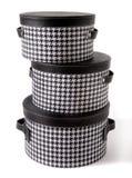 Set houndstooth czek i czarni rzemienni bandboxes Zdjęcie Royalty Free