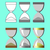 Set hourglass in different styles on a blue background. Vector illustration Stock Image