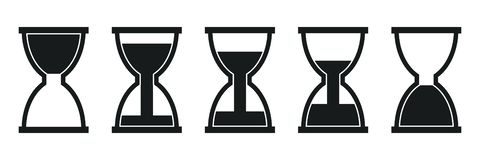 Set hourglass icons, sandglass timer, clock flat icon for apps and websites – vector. Set hourglass icons, sandglass timer, clock flat icon for apps and stock illustration