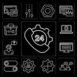 Set of 24 hours, Conversation, Settings, Switch, Browser, Customer support, Laptop, Toolbox, editable icon pack. Set Of 13 simple editable icons such as 24 hours Stock Image