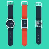 Set of hours on hand different form in flat style Royalty Free Stock Photos