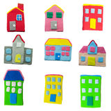 Set of house and building made from plasticine Royalty Free Stock Images