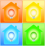 Set house and bulb on background Royalty Free Stock Image