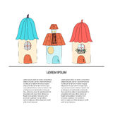 Set of house. Collection artoon of cute houses . Vector illustration with place for your text Stock Photo