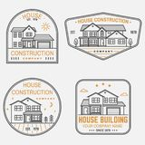Set of House construction company identity with suburban american house. Vector illustration. Thin line badge, sign for. Set of House construction company vector illustration