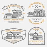 Set of House construction company identity with suburban american house. Vector illustration. Thin line badge, sign for. Set of House construction company stock illustration