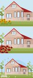 Set of a house in different seasonal times. Vector illustration Stock Image