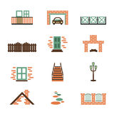 Set of  house elements isolated. Home icons in flat style. Building symbol - window, door, car, fence, garage, stairs, fireplace, path, brick, building Stock Photos