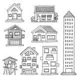 Set house home building vector illustration design hand drawing. Art royalty free illustration