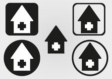 Set house icon with a cross. Circle, square with rounded corners Stock Images