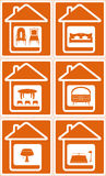 Set house icon with furniture Stock Images