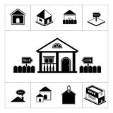 Set of house icons. Real estate and building colle. Ction isolated on white vector illustration