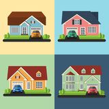 Set of house icons or symbols. Flat design Stock Photos