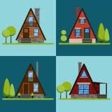 Set of house icons or symbols.Triangular brick and wood houses. Flat design vector illustration stock illustration
