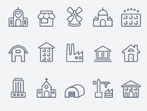 Set of house icons. Set of 15 house icons. Thin lines Royalty Free Illustration