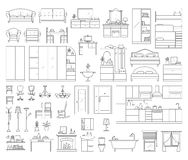 Set of house interior furniture. Vector icons set of house interior furniture. Collection in thin linear style. elements of kitchen, bathroom, bedroom, wardrobe Stock Images
