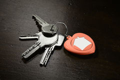 Set of house keys - horizontal. Set of house keys with a red keychain on dark brown wooden background Stock Image