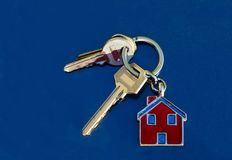 Set of house keys on key ring. With house fob Royalty Free Stock Photo