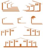 Set of house Logos isolated. A logo for architets o real estate agents, representing stylized house. An idea for people that want to confer a confidential tone Royalty Free Stock Image