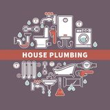 Set of house plumbing with drops of water. Vector illustration Stock Image