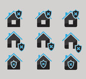 Set of house protected icons isolated on gray background Stock Photo