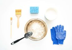 Set of house repair constructing and painting equipment on white background. Flat lay stock images