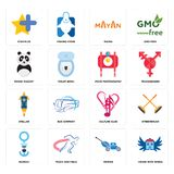 Set of house with wings, mower, seaman, culture club, stellar, food photography, panda mascot, mayan, star plus icons. Set Of 16 simple  icons such as house with Stock Photography